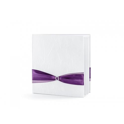 Biała księga gości z fioletową tasiemką