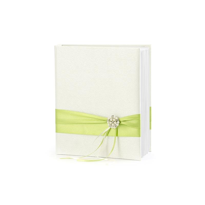 Satynowa księga gości z zielonymi tasiemkami