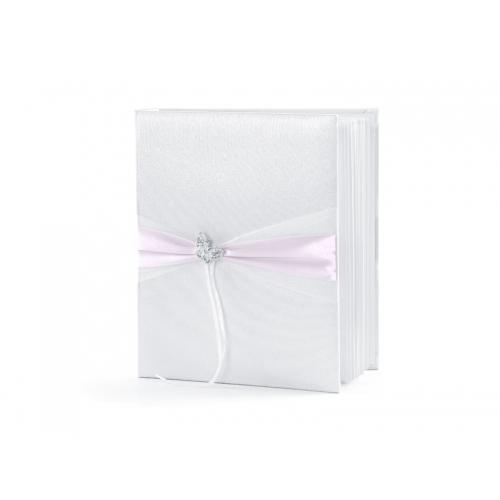 Biała księga gości z różową tasiemką i motylkiem