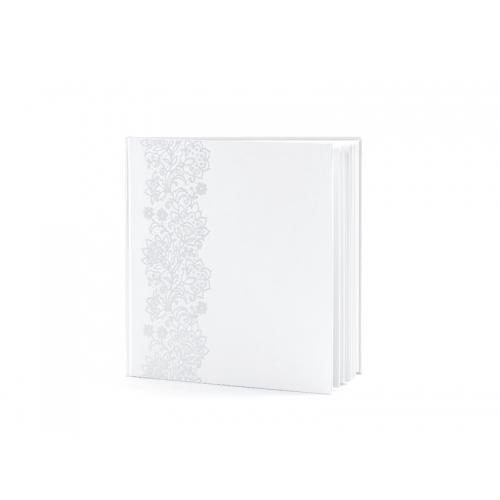 Biała księga gości z tłoczonym, kwiatowym wzorem