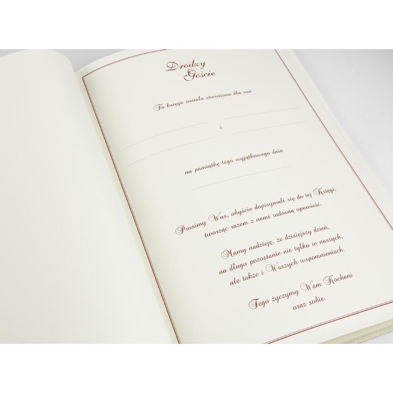 Kremowa księga gości z marszczonego papieru