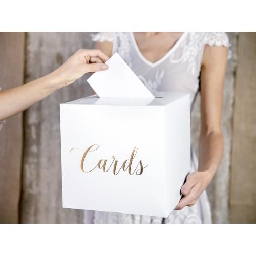 Pudełko na koperty ze złotym napisem Cards