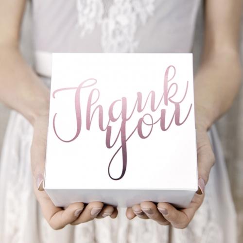 Pudełka na ciasto z napisem Thank you w kolorze różowego złota