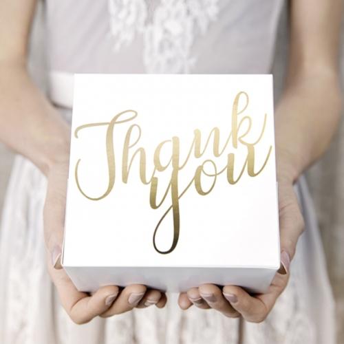 Pudełka na ciasto z napisem Thank you w kolorze złotym
