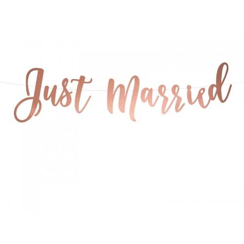"""Baner """"Just Married"""" - różowe złoto"""