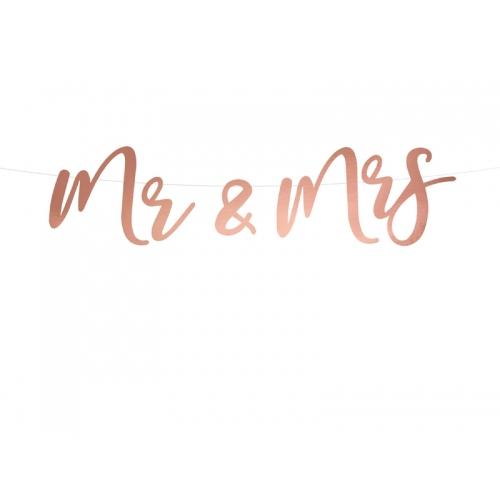 "Baner ""Mr & Mrs"" - różowe złoto"