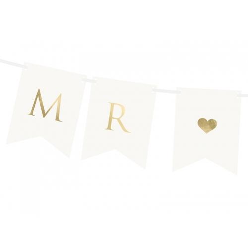 "Baner ""Mr & Mrs"" - biały"