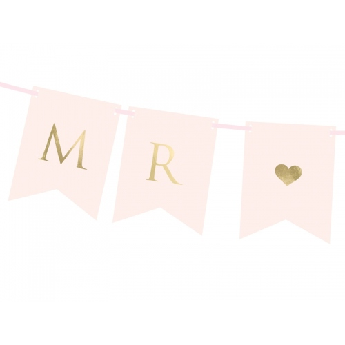 "Baner ""Mr & Mrs"" - różowy"