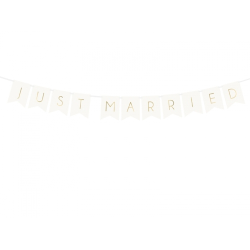 "Baner ""Just Married"" - biały"