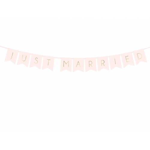 "Baner ""Just Married"" - różowy"