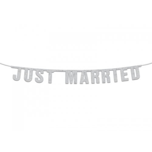 "Baner ""Just Married"", srebrny"