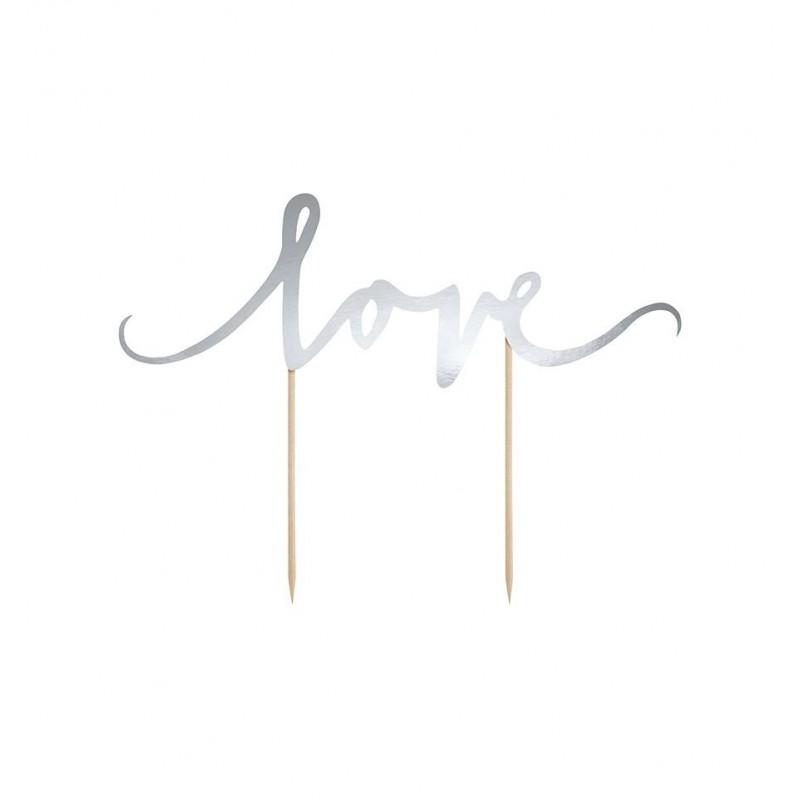 Topper na tort - srebrne Love