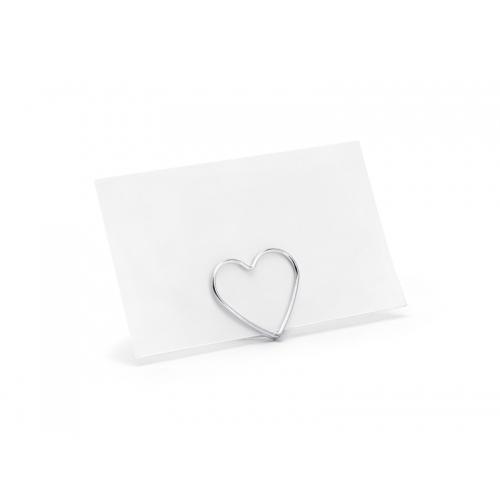 Stojak na winietki Serce, srebrny ( 10 sztuk )