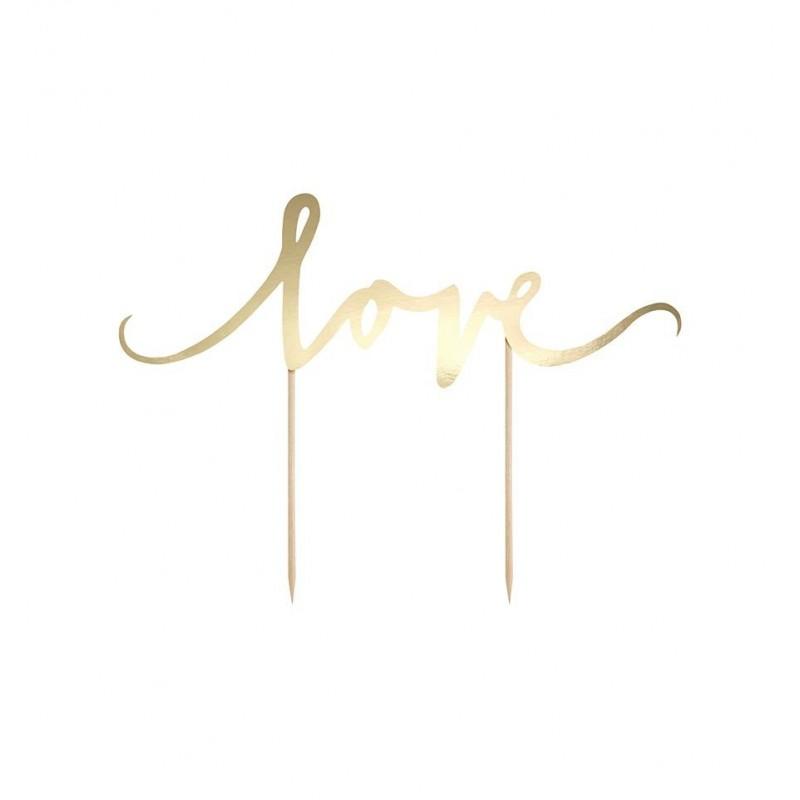 Topper na tort - złote Love