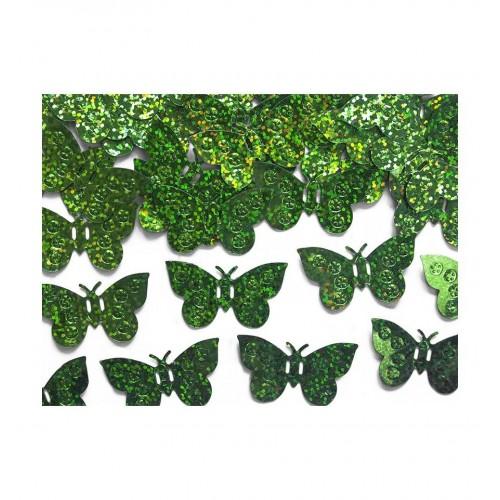 Konfetti - zielone, holograficzne motylki