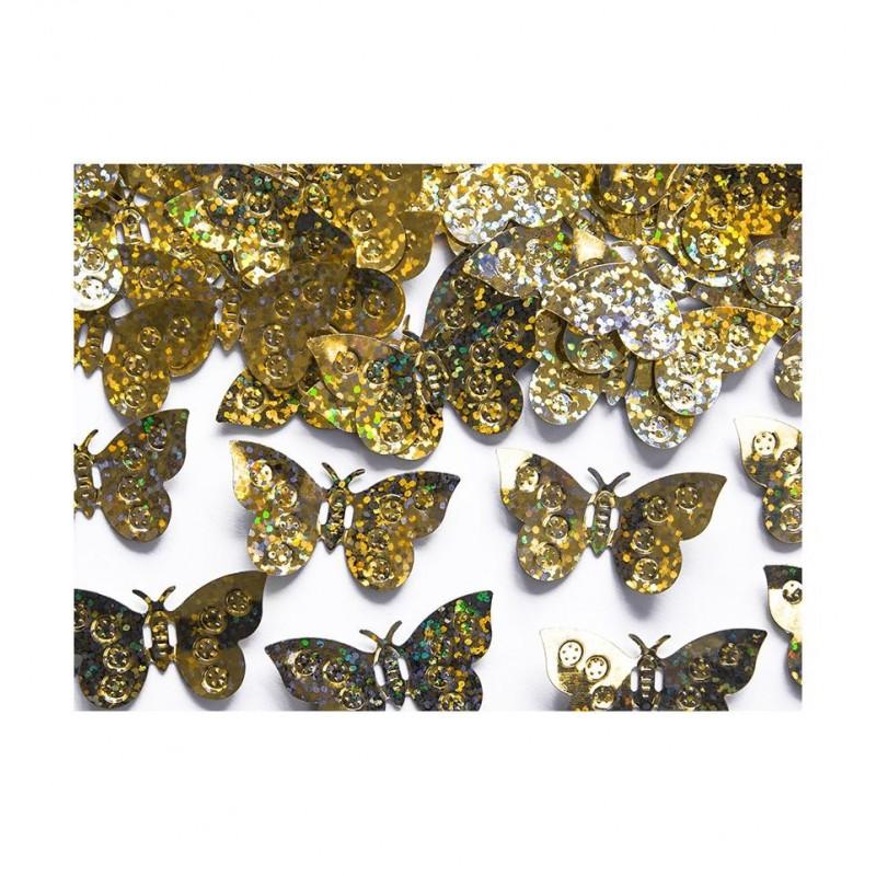Konfetti - złote, holograficzne motylki
