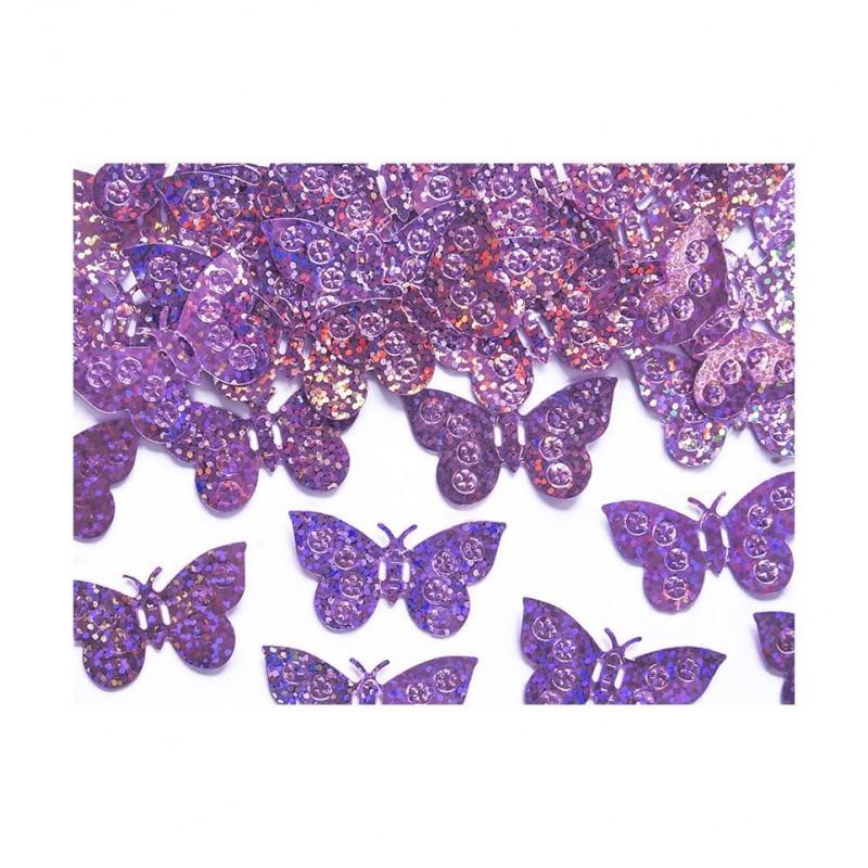 Konfetti - różowe, holograficzne motylki