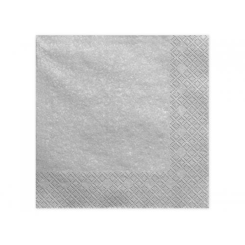 Serwetki papierowe - srebrne metalizowane (20 sztuk)