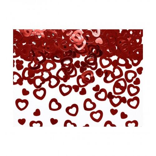 Konfetti - czerwone, metalizowane serduszka