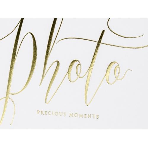 """Biały album na zdjęcia ze złotym napisem """"Photo, Precious moments"""""""