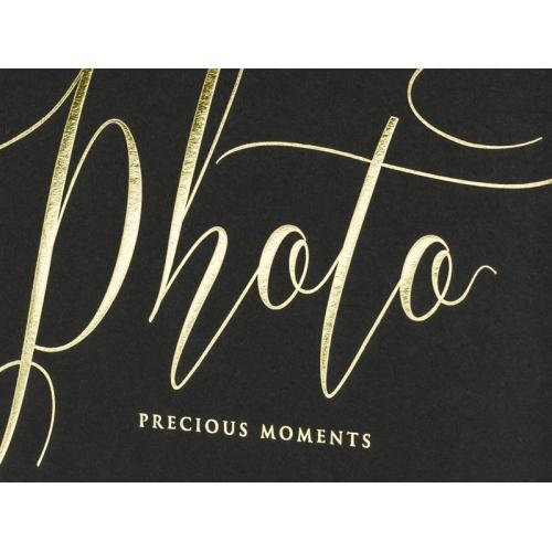 """Czarny album na zdjęcia ze złotym napisem """"Photo, Precious moments"""""""
