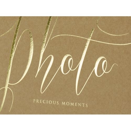 """Kraftowy album na zdjęcia ze złotym napisem """"Photo, Precious moments"""""""