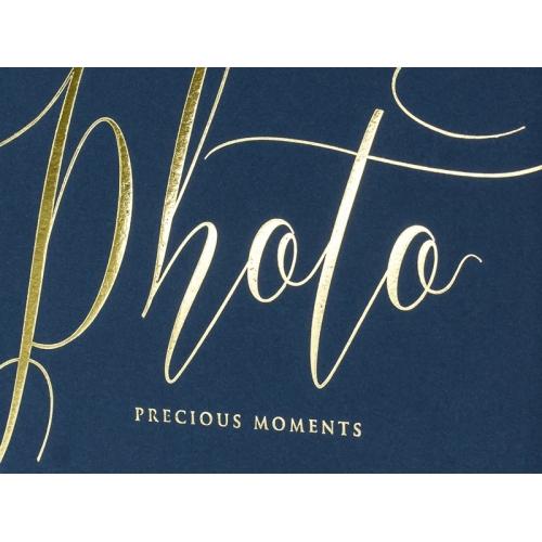 """Granatowy album na zdjęcia ze złotym napisem """"Photo, Precious moments"""""""