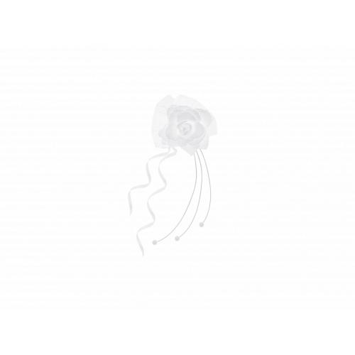 Rattanowe bukieciki z różyczką, białe (4 sztuki)