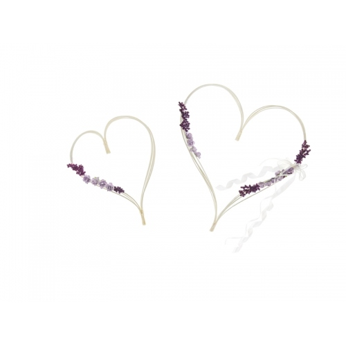 Rattanowe serca z bukiecikami, fioletowe (2 sztuki)