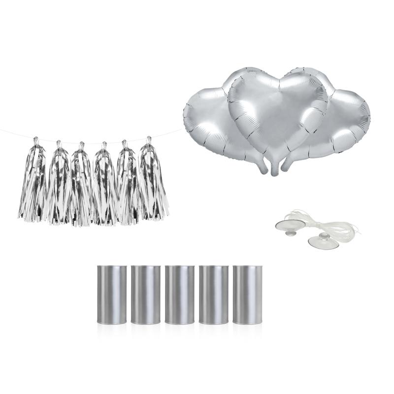 Zestaw dekoracji samochodowych - srebrny, serca