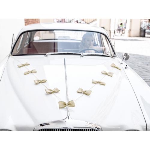 Zestaw dekoracji samochodowych - kokardki jutowe
