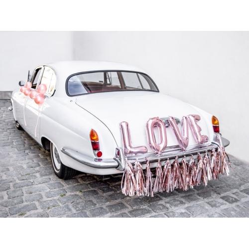 Zestaw dekoracji samochodowych - LOVE różowe złoto