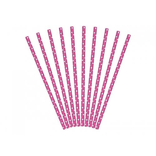 Słomki papierowe, ciemno różowe w kropeczki (10 sztuk)