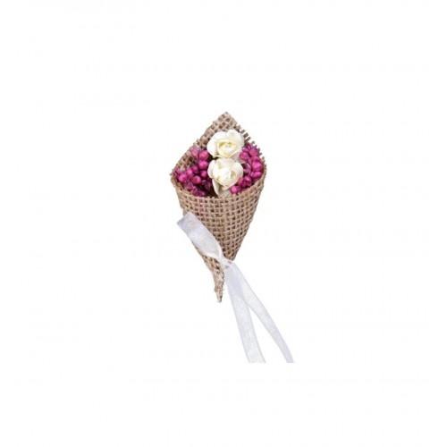 Kotyliony z jutą i suszonymi kwiatami (2 sztuki)