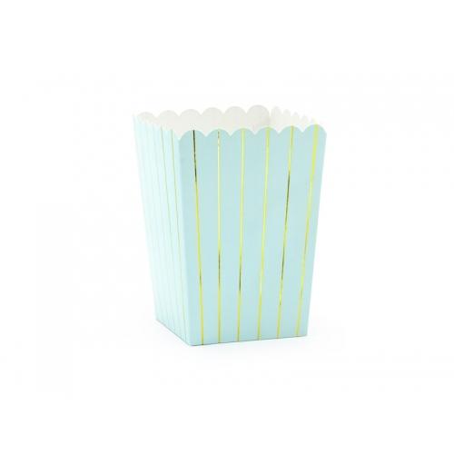 Pudełka na popcorn, paski jasno niebieskie (6 sztuk)