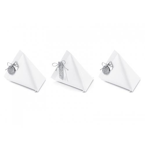 Pudełeczka dla gości z zawieszkami - białe (6 sztuk)
