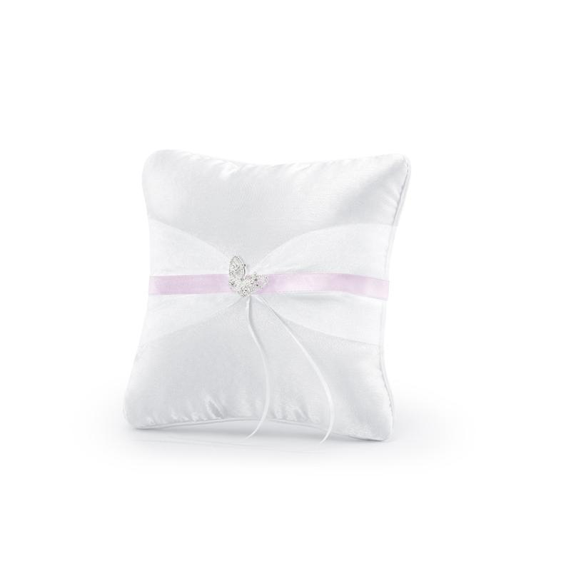 Poduszka pod obrączki z różową tasiemką