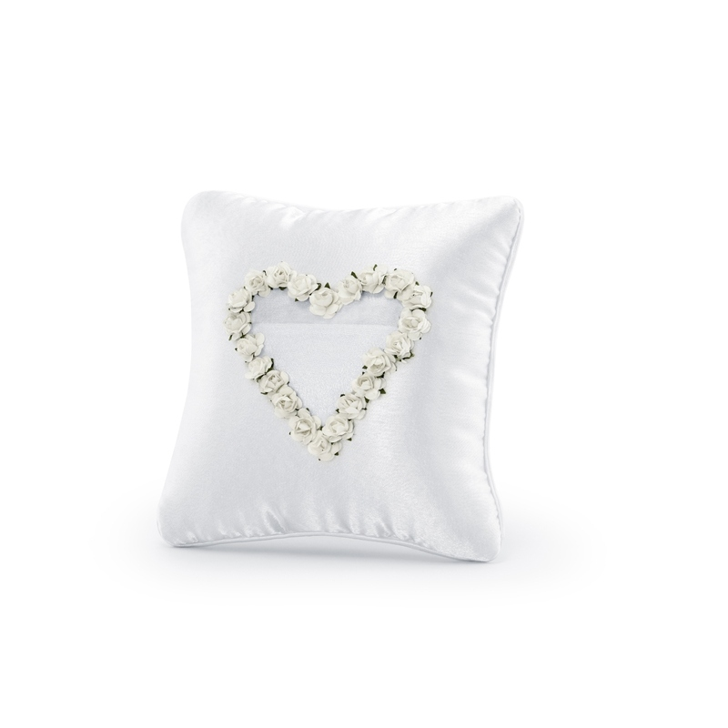Poduszka pod obrączki z białym sercem