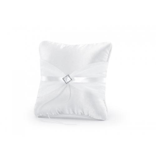 Poduszka pod obrączki z białą tasiemką i srebrną aplikacją