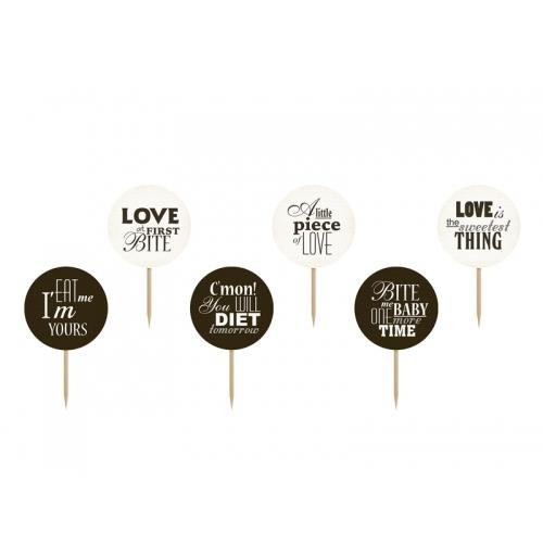 Dekoracje do muffinek, Sweet love, mix (6 sztuk)