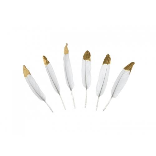 Piórka dekoracyjne białe (6 sztuk)