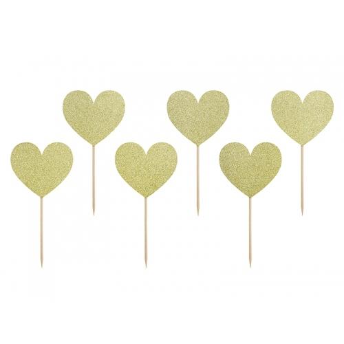 Dekoracje do muffinek, Sweet love serca (6 sztuk)
