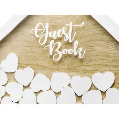 Biała księga drewniana Guest Book
