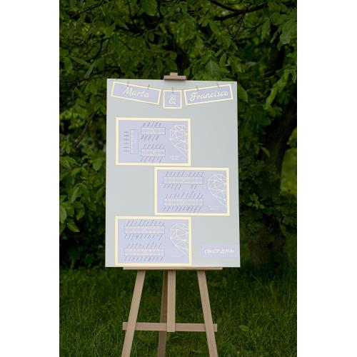 Plakat rozmieszczenia gości - Shine, geometryczne