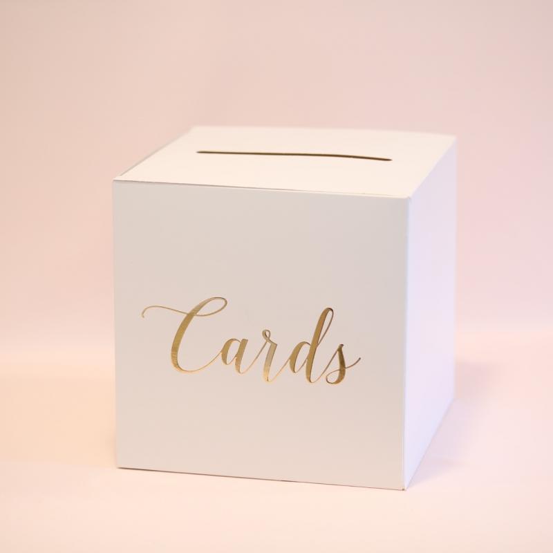 Pudełko na koperty z napisem Cards, różowe złoto