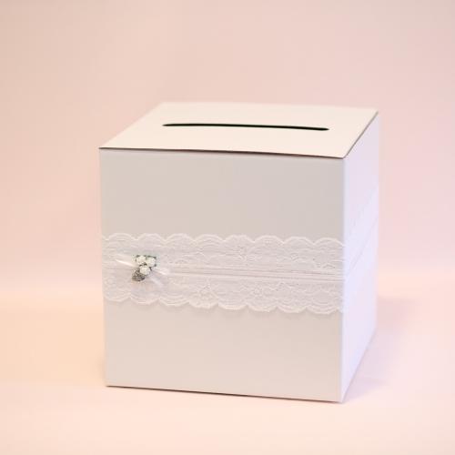 Pudełko na koperty - perłowe z koronką