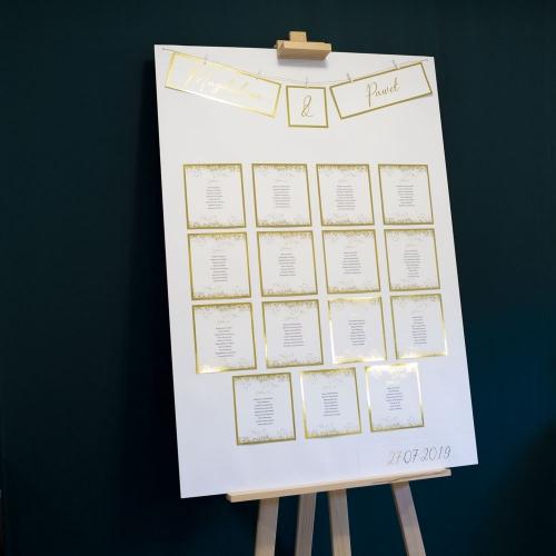 Plakat rozmieszczenia gości - Shine, kropki