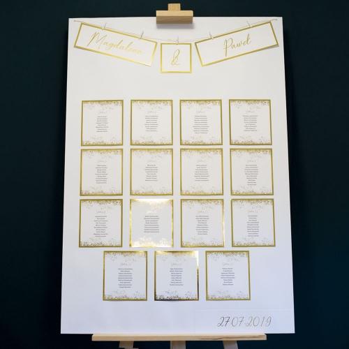 Plakat rozmieszczenia gości - Shine kropki