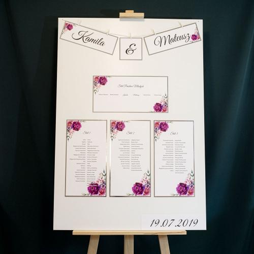 Plakat rozmieszczenia gości - Kwiatowy