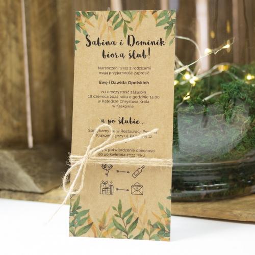 Zaproszenie ślubne - Rustic Green